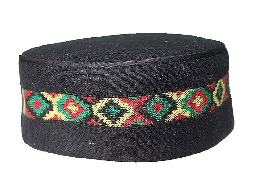 Traditional kullu Cap BLACK  CENTER BORDER Cap