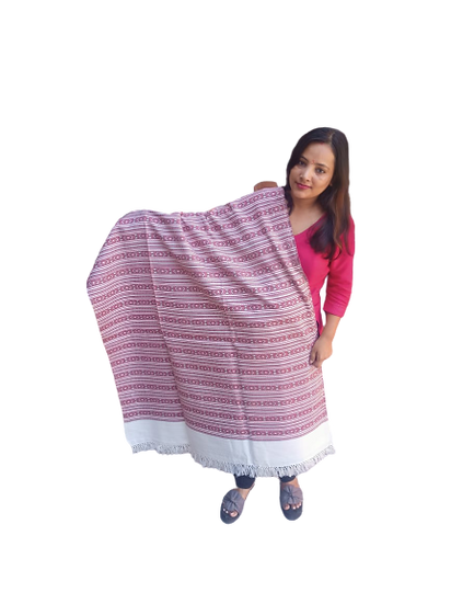 Hand Woven PASHMINA WHITE Shawl Beautiful Hand Woven Embroidered FOR Women and