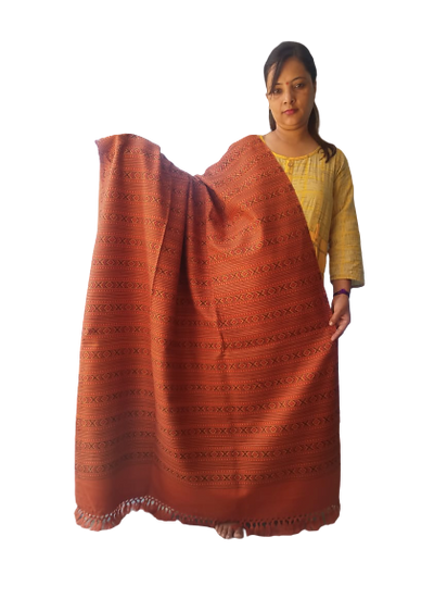 Hand Woven PASHMINA RUST  Shawl Beautiful Hand Woven Embroidered FOR W