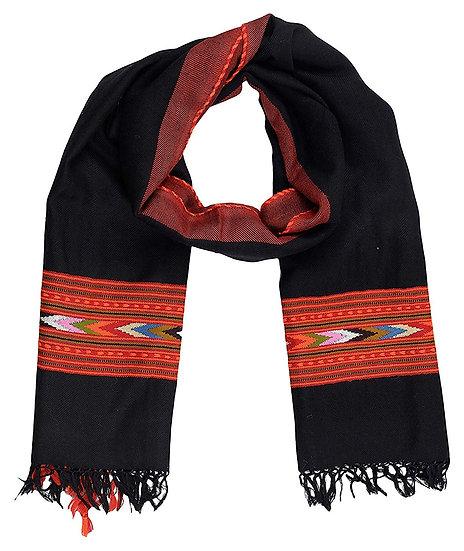 Women's Hand Woven, Woolen Stole with Kullu Typical Weaving on Handloom
