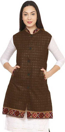 ARUNA KULLU HANDLOOM  Woolen Winter Wear Long Jacket for Women