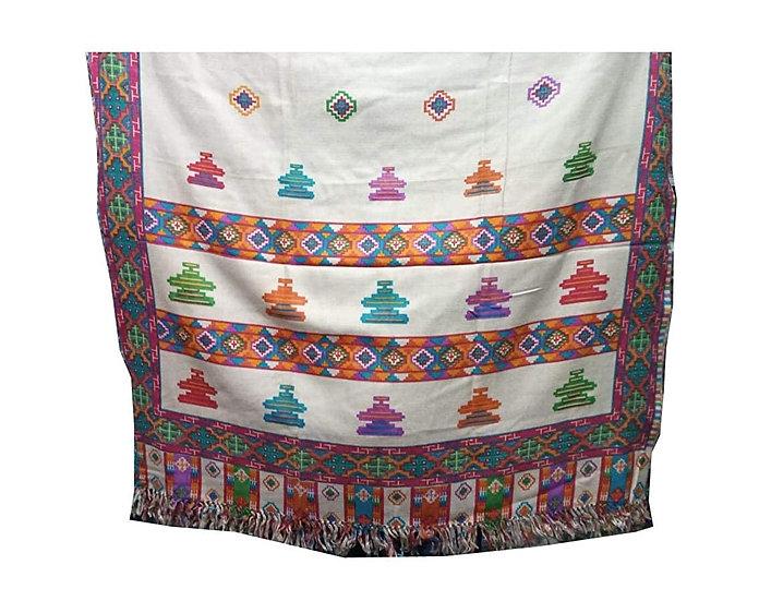 Pure Yak Wool Pashmina Kinnauri Triple Border printed shawl