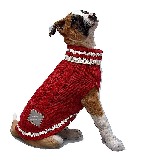 Dog Sweaters Hand Knitted with Pure Wool red