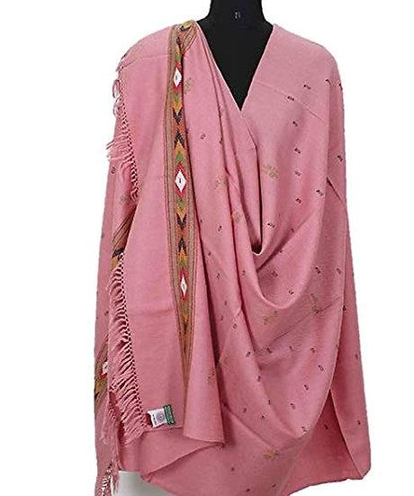 ARUNA Women's Wool Shawl From Kullu with Kinnauri Woven Multicolour BordER