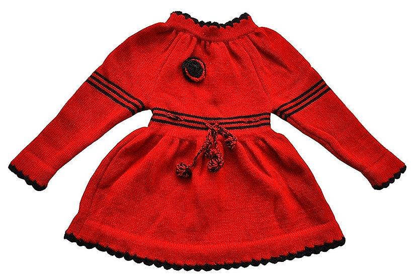 ARUNA HANDLOOM PURE WOOL HAND KNITTED Woolen Frock (Red) new born to ten