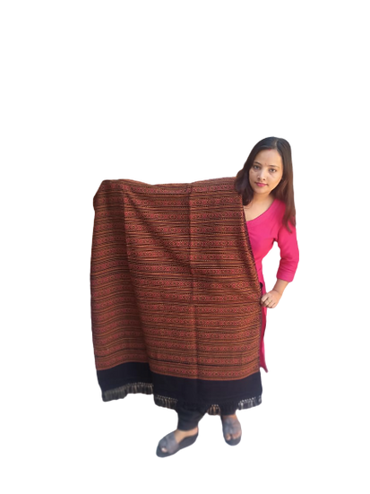 Hand Woven PASHMINA black  Shawl Beautiful Hand Woven Embroidered FOR Wom