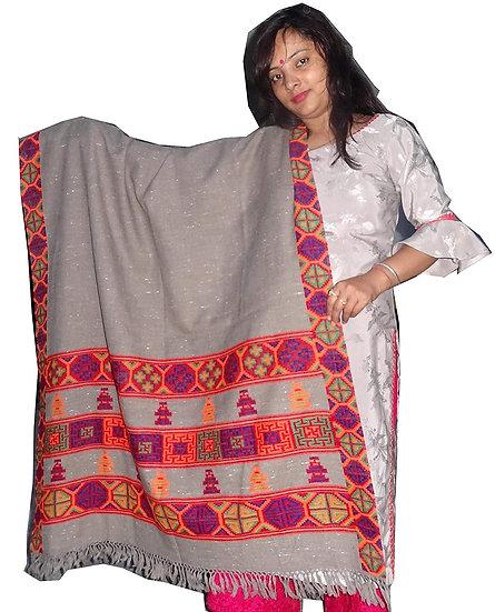 YAK WOOL PURE Pashmina Kullu Kinnauri Triple Border Handcrafted Shawl