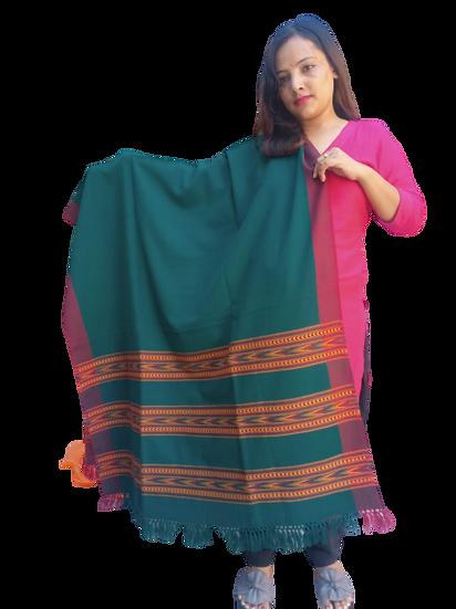 ANGORA Shawl with Beautiful TRIPLE BORDER Kullu Weaving Designed for Women and G