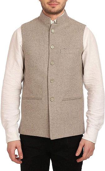 ARUNA KULLU HANDLOOM Men's Woolen Tweed Bandhgala Nehru Jacket Waistcoat