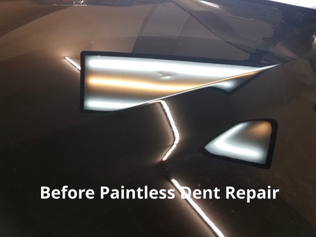 Aluminum Hood Dent Removal= No Paint No Problem