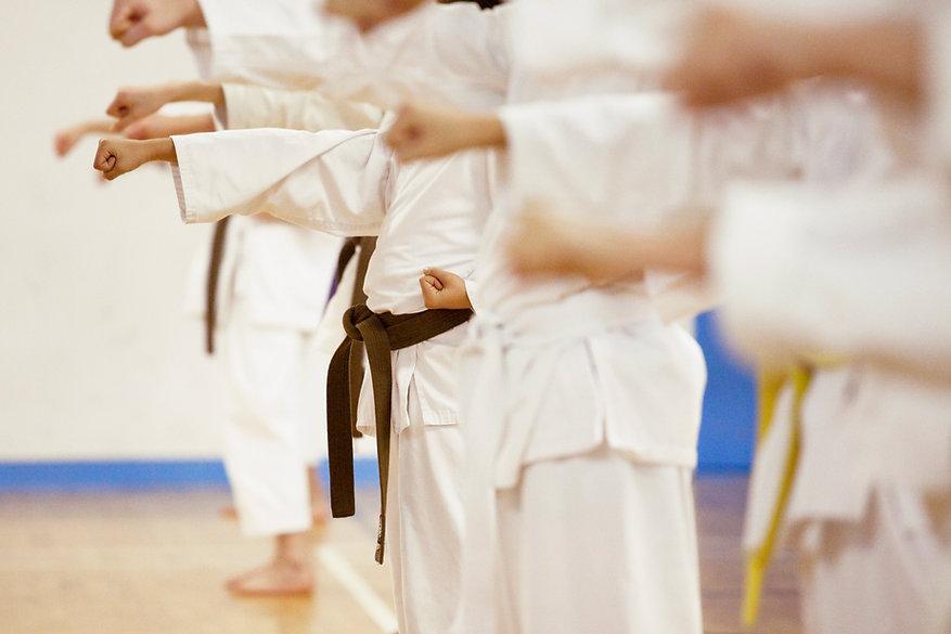 Pessoas fazendo aulas de karate