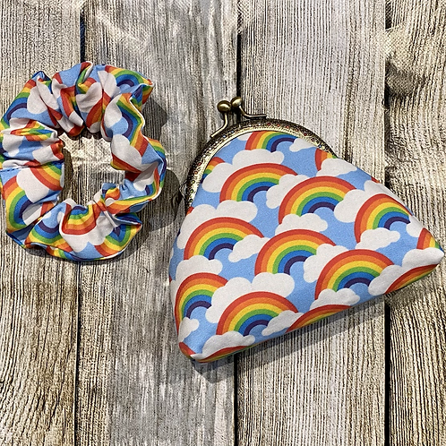 Rainbow Clouds Coin Purse with Matching Scrunchy