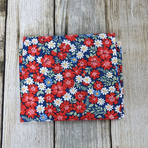 Navy Red White Multi Floral