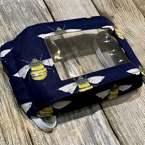 Navy Blue Bee Print