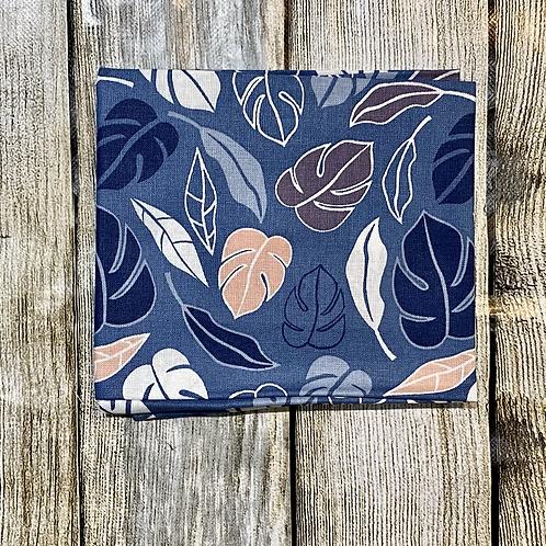 Blues Peach White Leafy Pattern