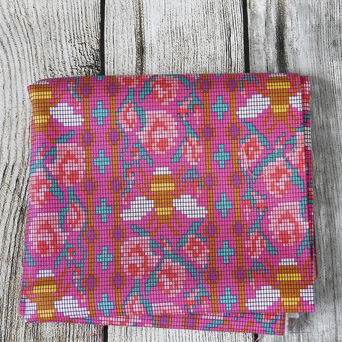 Fuschia Pink Bee Flower Multi Embroidery