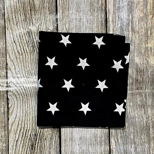 Black with Big White Stars Pattern