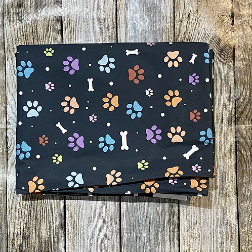 Black Bones and Paws Pattern Print