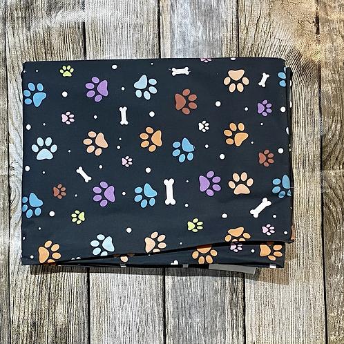Black Bones and Paws Pattern Print