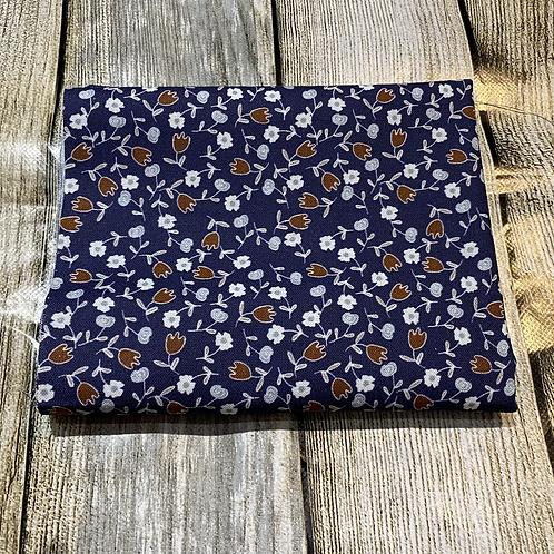 Navy Blue Brown Pretty Floral Pattern