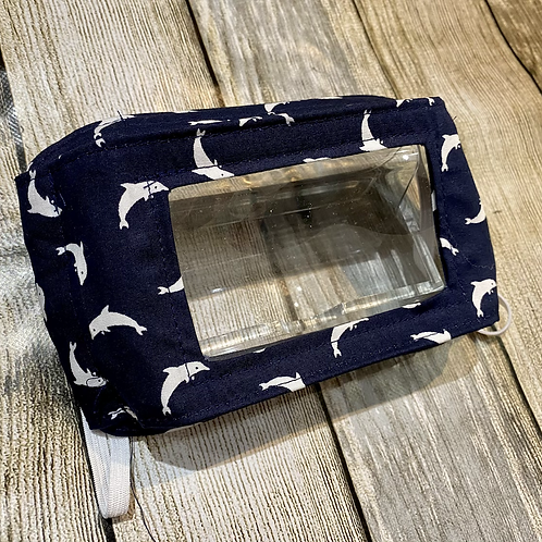 Navy Blue with White Dolphins