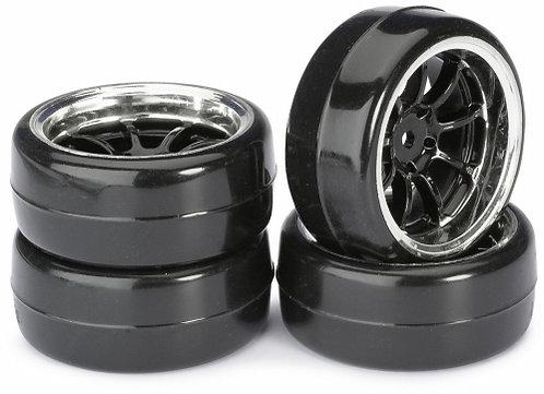 ABSIMA WHEEL SET DRIFT LP 9 SPOKE / PROFILE B BLACK/CHROME 1:10 4stk - Rcbilen.no
