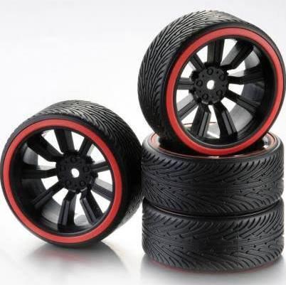ABSIMA WHEEL SET DRIFT 9 SPOKE-PROFILE B BLACK RIM-RED RING 4stk - Rcbilen.no