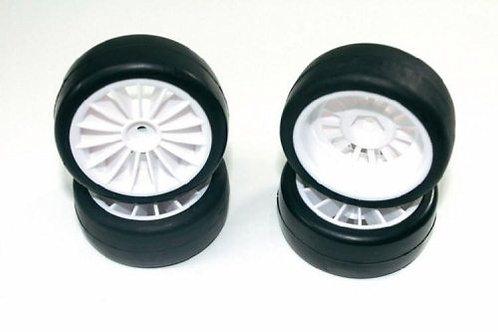 ABSIMA WHEEL SET ONROAD 15 SPOKE / SLICK WHITE 1:10 4stk - Rcbilen.no