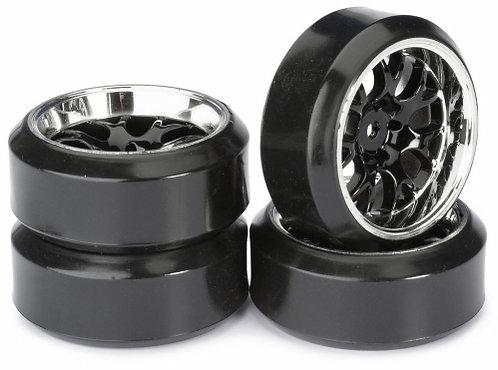 ABSIMA WHEEL SET DRIFT LP COMB / PROFILE C BLACK/CHROME 1:10 4stk - Rcbilen.no