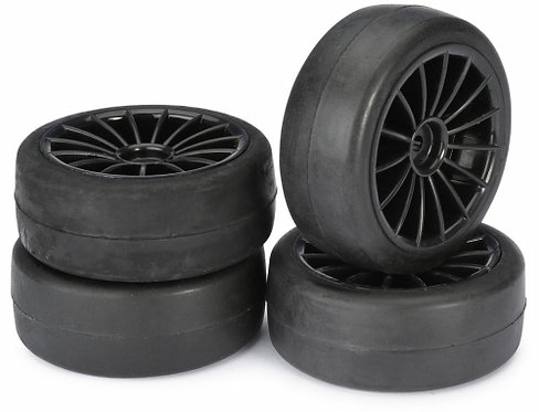 ABSIMA WHEEL SET ONROAD 15 SPOKE / SLICK BLACK 1:10 4stk - Rcbilen.no