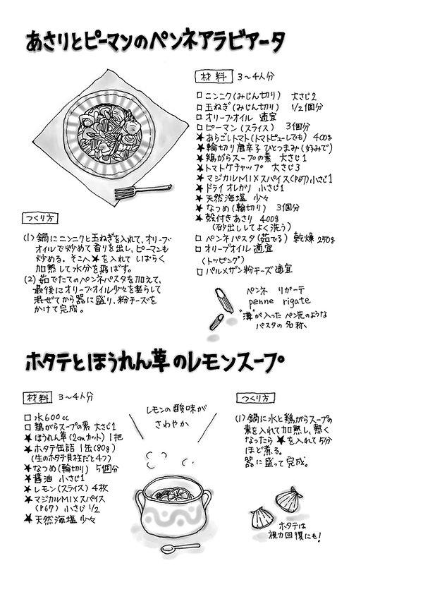 イラスト  (10)あさりとピーマンのペンネアラビアータ.jpg