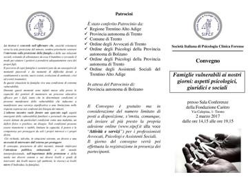 Famiglie vulnerabili ai nostri giorni: aspetti psicologici, giuridici e sociali.
