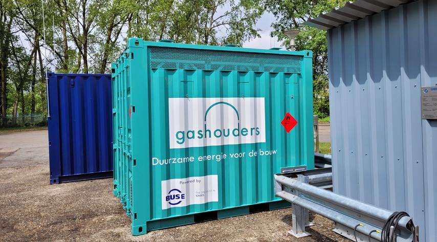10ft biogascontainer bij vulstation RWZI Renkum