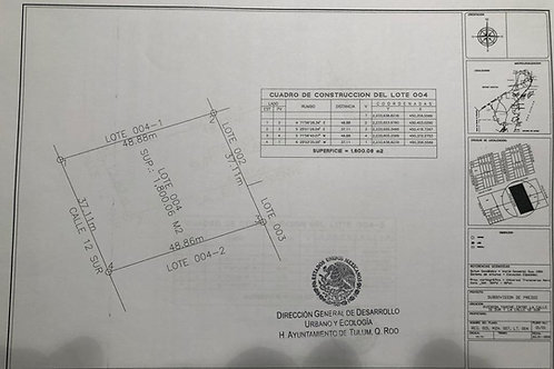 Tulum Land for sale of 1.800 sqm in first line of region 15