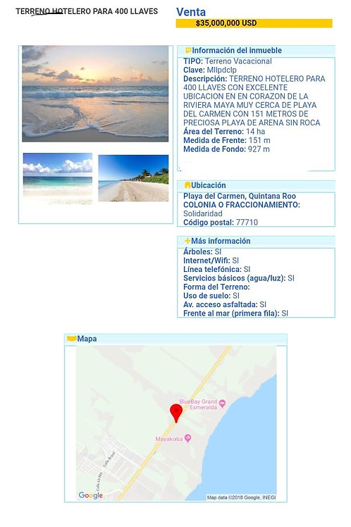 Great Land near Mayacoba, Playa del Carmen. 14 hectars with 151 beach front.