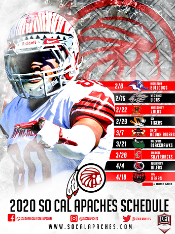 2020 So Cal Apaches Football Schedule