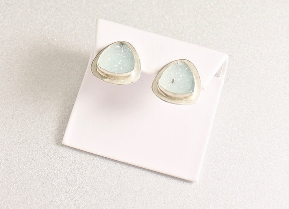 Pale blue druzy earrings set in Sterling/Fine Silver with omega clip