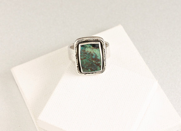 Parrot Wing Chrysocolla sterling ring size 12