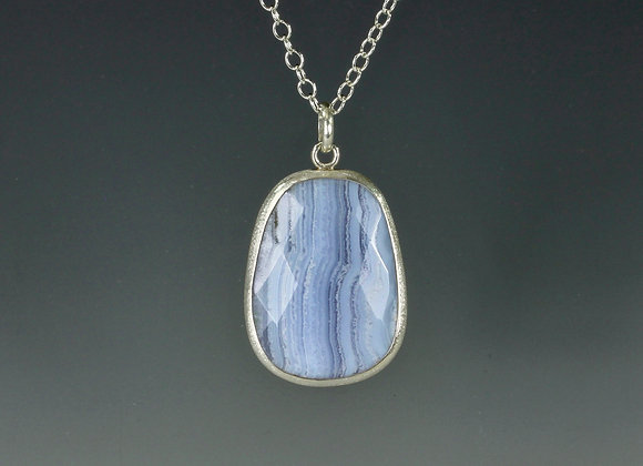 blue lace agate necklace in fine/sterling silver