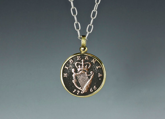 1766 Hibernia Coin 18k yellow gold setting, sterling silver chain
