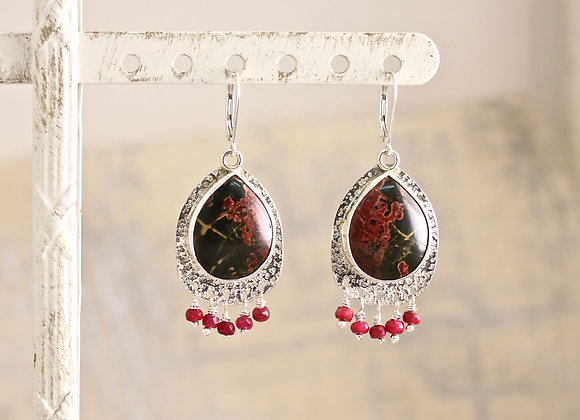 Red Creek Jasper teardrop with Ruby earrings