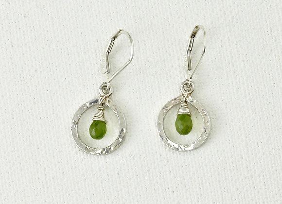 sterling hammered teardrop with vesonite earrings