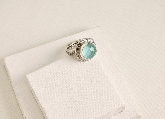 amazonite/quartz doublet faceted stone ring in sterling silver