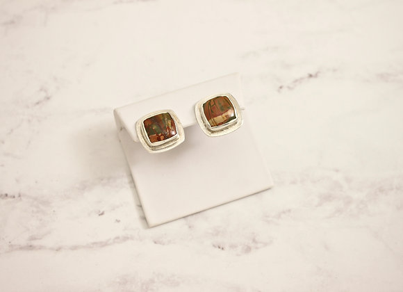 Red Creek Jasper square Sterling post earrings w omega clasp