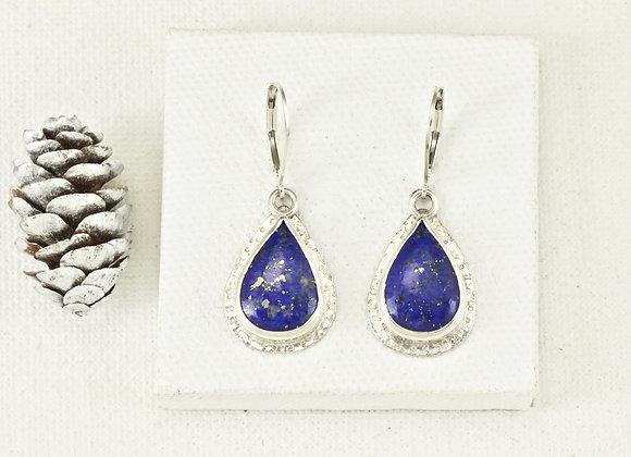 lapis sterling/fine silver teardrop earrings