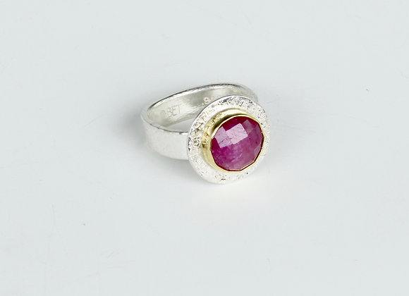 Ruby ring in 18k yel gold/sterling silver size 7