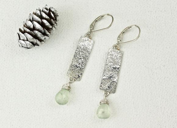 Prehnite on sterling tablet earrings