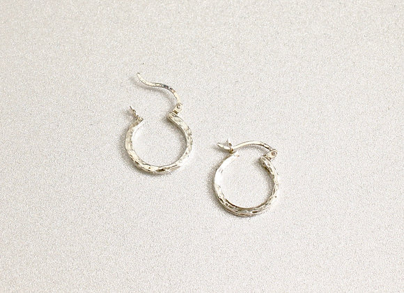 Sterling Hammered Square Wire Hoop, Small