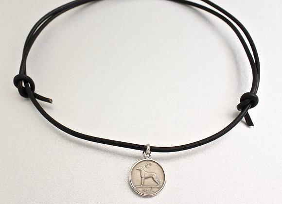 Irish Wolfhound coin necklace set in fine silver