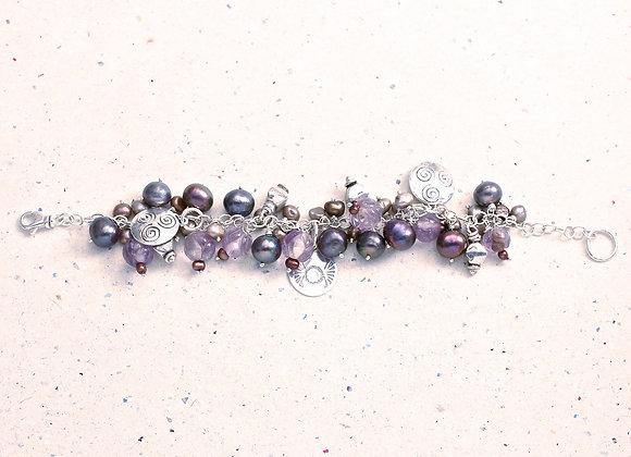 Freshwater Pearl & Amethyst Charm Bracelet